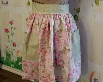 XL Handmade Half Apron with Pockets Pink Green Floral Tea Time