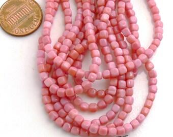 Pink Cubes, Czech Glass Beads - Opaque Pink - 50