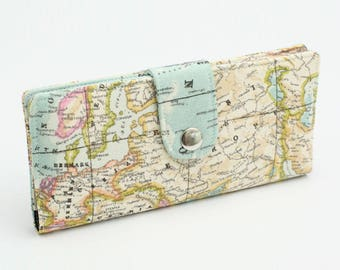 Phone Wallet Organizer, Fabric Checkbook Cover, Women's Long Purse, Travel Case Clutch, Handmade Wallet - world map