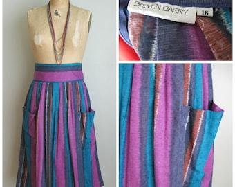 1980's Cotton Vertical Stripe Skirt// Purple and Blues// Steven Barry// Large/XL