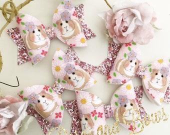Guinea pig bow - pink guinea pig headband - guinea pig glitter headband - baby bow headband - bow headband - bow clip - girls hair accessory