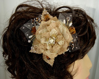 Bridal Fascinator, Burlap Hair Clip, Bridal Headpiece, Wedding Accessory, REX16-310
