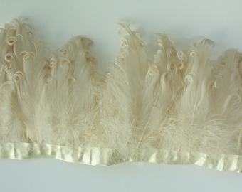 Cream Curled Goose Feathers on ribbon trim for Millinery  Ask a question