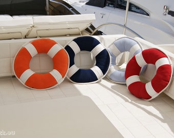 SALE -20% Lifebuoy Pillow Sea Art, Sailor Style! Maritime island decor. Classic nautical colors. Spectacular gift!
