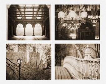 Vintage Prints or Canvas Art, Sepia Decor, Sepia Print, Sepia Prints Set of 4, New York City Art, Chandelier Print, Sepia.