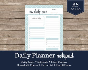 """Daily Planner Notepad / Daily Agenda / To Do List / Daily Schedule / 5.5""""x8.5"""" Notepad / A5 Planner Insert"""