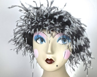 Kentucky Derby Black Straw Cloche Hat with Feathers