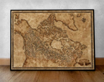 Fantasy style illustrated map of Canada art, Canada map poster, map print Canada wall map, Canada gift, Fantasy Canada Poster