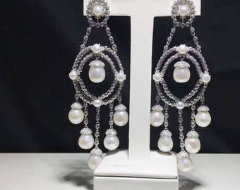 South Sea White Pearls Chandelier Earrings