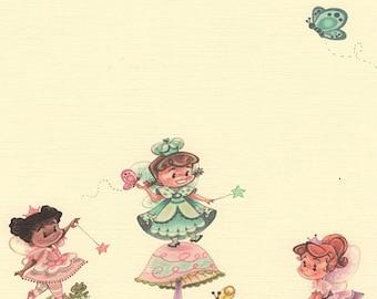 Girl Party Invitation Set of 12, Little Fairies, Girl Fairies, Pink Mushroom, Butterflies, Linen Card Stock by MissHollyLu
