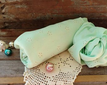 """Pretty Mint Green Retro Polyester Knit Fabric - Vintage Delicate + Dainty Printed Material in Pale Spring Green, Stretchy Polyester, 60""""-19"""""""