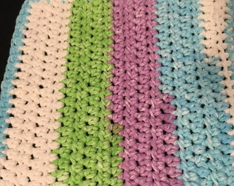 SweetPeaStripes1Dishcloth,Crochet Dishcloth,Handmade,Crochet DishRag,Handmade 100% Cotton,EcoFriendly,Cotton Dishcloth,Soft,Reusable,Durable