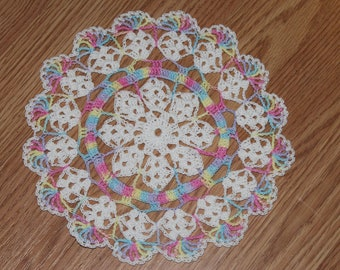 New Hand Crocheted doily - white and toy mobile multicolor