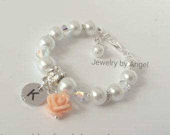 Flower Girl Bracelet, Flower Bracelet, Pearl Bracelet, Wedding Jewelry, Flower Girl Jewelry, Flower Girl Gift, Personalized Jewelry, Gift