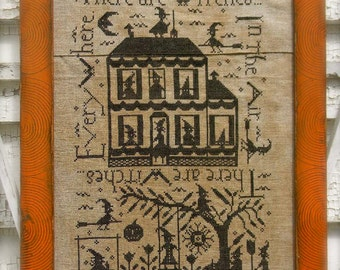 Witches in the Air - cross stitch PAPER PATTERN - from Notforgotten Farm