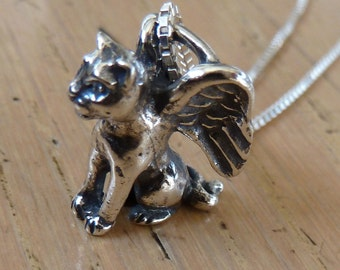 Sterling Silver Angel Cat Necklace Cat Memory Jewelry