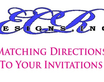 MATCHING DIRECTION CARDS to add to your invitation order,Directions to Wedding,Sweet 16,Anniversary Party, Birthday, Mitzvah