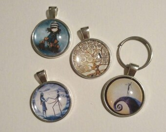 Custom book and movie keychain and necklace: nightmare before christmas, pride and prejudice, quotes