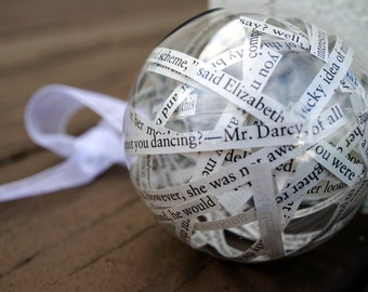 Pride and Prejudice Christmas Ornament | Jane Austen | from Recycled Book Page | Elizabeth and Mr. Darcy | Folded or Straight Paper Strips