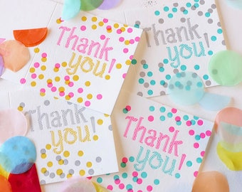 Thank you card set, Pack of 4, Colourful with thanks card, Confetti, happy all ages, bright, neon exciting, thank you notes, any occasion