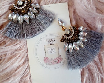 Grey tassel earrings with diamontes accents