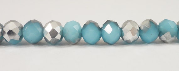 """Crystal Rondelle Beads 6x4mm Half Light Frosted Blue Half Silver Crystal Beads Chinese Crystal Glass Beads on an 8 3/4"""" Strand with 50 Beads"""