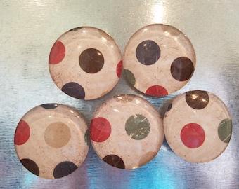 Handcrafted Glass Magnet Set - Masculine Polka Dots