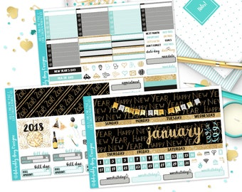 January Auld Lang Syne New Year's Watercolor Themed Monthly View Planner Sticker Kit for Erin Condren Planners or Happy Planner