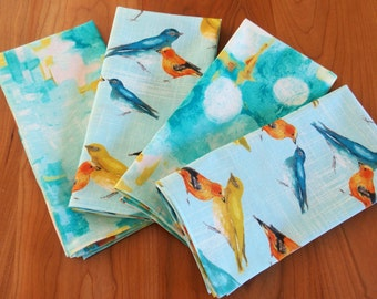 Bird Napkins in Aqua, Blue Mix and Match Napkins with Birds and Abstract Art, Laura Gunn Flutter Birdies, Vignette Reflecting Pool