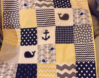 Baby QUILT/Yellow & Navy Handmade quilt/available in 2 sizes/ALL Matching  Items AVAILABLE