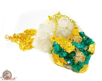 "Yellow gold Plated pendant ""The Heart Of The Forest"" with crystals of Dioptase natural (deposits of stone - Kazakhstan)"