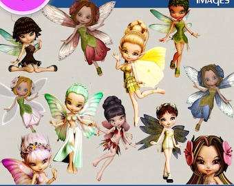 FAIRY BLOSSOMS clipart png images, Digital Cliparts, Graphic, Stickers, Png file, Transparent Backgrounds, digital print, printable images