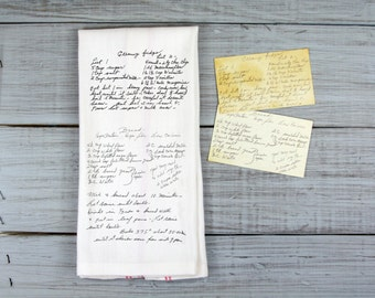 Custom Printed Recipe Tea Towel // Your recipe in the original handwriting on a tea towel