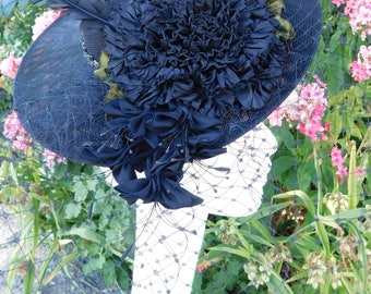 Fun Black Hat Fascinator Ribbon Rose Feathers Netting Blusher
