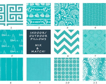 Indoor/Outdoor Pillow Covers - Turquoise - Outdoor Pillows - Outdoor Pillow Cushions - Outdoor Throw Pillows -
