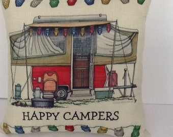 "Happy camper throw pillow. 18""square. Cotton/linen fabric. Camper print with owl string lights on front of pillow with solid cream back."