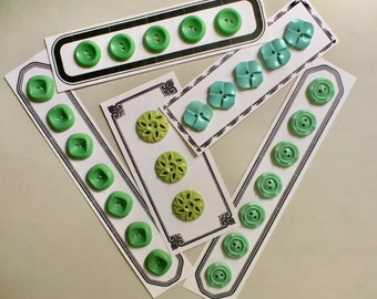 Early Plastic Fancy Buttons in Shades of Green Choose Your Set