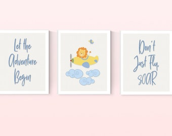 Lion Airplane Adventure Nursery Set of 3 Digital Prints, Personalized, Baby Room Decor, Digital Download, Boy or Girl, Wall Art, 8x10 #3