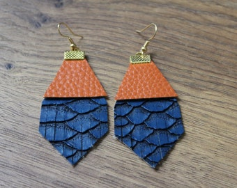 Titan Leather Earrings - Alligator Navy with Burnt Orange