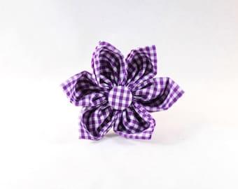 Preppy Purple Gingham Girl Dog Flower Bow Tie
