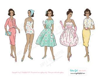 Printable RETRO GIRLS Sampler set of die cuts! - Digital File Instant Download- women of color, hand drawn, vintage lady, 1960s, collage