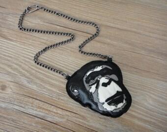 Orangutan Stuffed Black Leather Orangutan Head Pendant Necklace