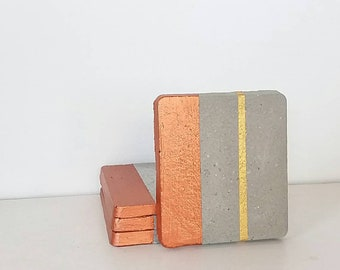 Concrete Coasters/Gray and Copper coasters/Modern coaster/ Cray  concrete coasters/ Modern minimalist home decor/Gift for Her/ Gift for Home