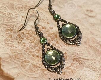 Green Rhinestone Earrings, Silver Dangle Earrings, Green Earrings, Dangle and Drop Earrings, Silver Dangle Earrings, Green Dangle Earrings