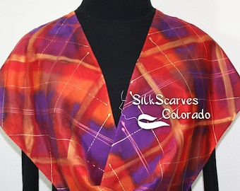 Orange Purple Silk Scarf Handpainted Silk Tartan Plaid Shawl Handmade DUTCH TARTAN. 11x60. Anniversary Gift, Mother Gift. Reunion Gift