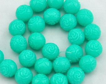 Mint Green Carved Coral  Beads,10 Pcs coral beads,coral Beads,Gemstone Beads-12mm----S0200