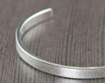 Unisex Sterling mens silver cuff bracelet satin finish bracelet for women or men