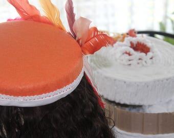 Orange Feathered Hat