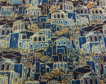 Ancient City Judaic Fabric Blue  with Gold Accents By the Half Yard