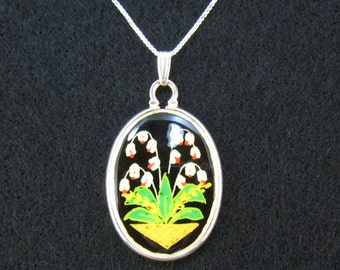 Lily Of The Valley Pendant pysanky design ostrich egg shell and sterling silver jewelry